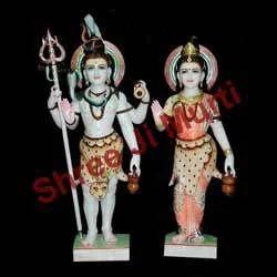 Standing Shankar Parwati Marble Statue