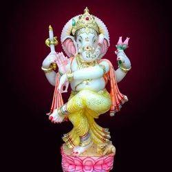 GA-4093 Dancing Ganesh Marble Statues