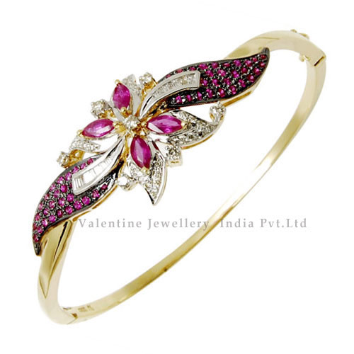 Pave Diamond Bracelet Ruby Rings & Bangles Valentine Jewellery