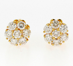 Gold Seven Stone Diamond Fashion Earrings