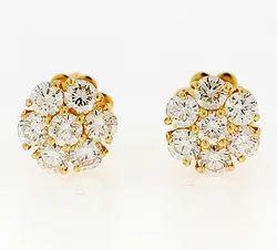 Gold Seven Stone Diamond Fashion Earrings