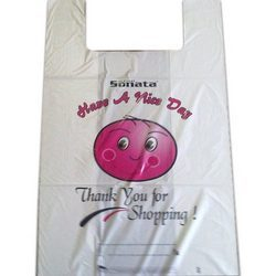 10 X 15 Inches HDPE Glossy T-Shirt D Cut Printed Shopping Carry Bags