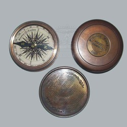 Vintage Solid Brass Poem Pocket Compass