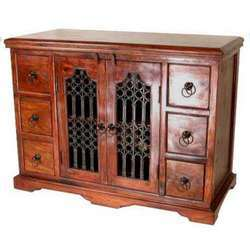 6 Drawers Iron Mesh Door Cabinet