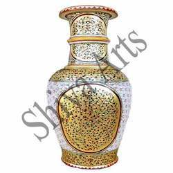 Gold and White Marble Pot