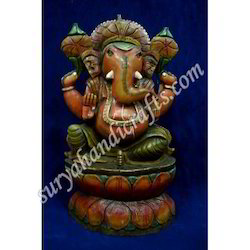 Wooden Painting Ganesh With Standing