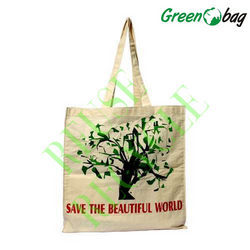 Green Bag White Large Cotton Canvas Bags