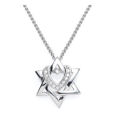 14k white gold diamond star d heart pendant necklace pooja 14k white gold diamond star d heart pendant necklace aloadofball Images