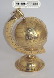 Golden Sphere Brass Globe World Map, Size: 3-8inch