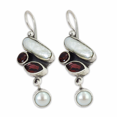 Art Palace Red And White 925 Sterling Silver Earrings With Natural Pearl Garnet Gemstone