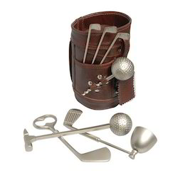 Leather Golf Bar Set In Delux Box