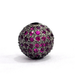 Natural Ruby Gemstone Bead Ball Jewelry Findings