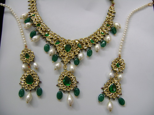 22k Gold Diamond Polki Kundan Necklace Set Swarn Jewels New Delhi