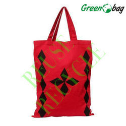 Printed Green Bags Red Canvas Bags