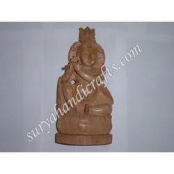Wooden Sitting Krishna