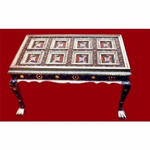 Wood Rectangular Meenakari Wooden Table, for Home