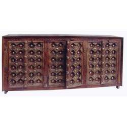 SideBoard with Carved Brass Worked Door 3 CupBoards