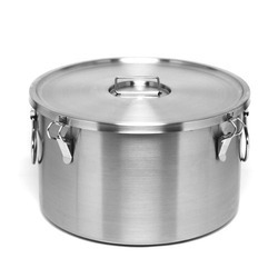 Silver Food Container, Medium-Height