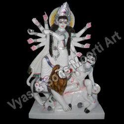 DU-0040 Marble Mahishasuri Maa Statue